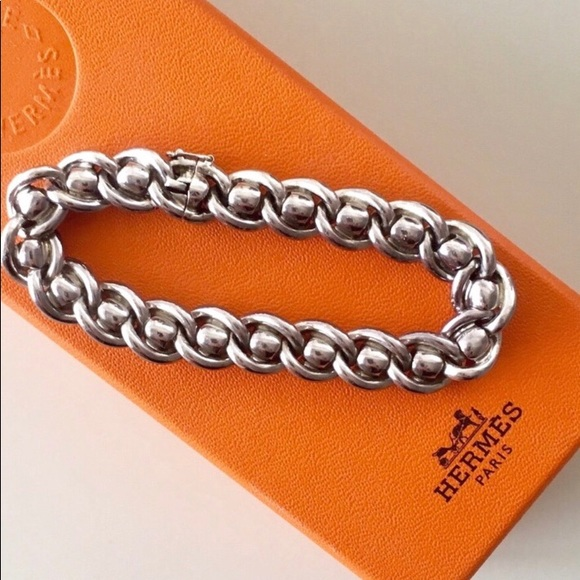 Hermes Jewelry   Paris Solid Heavy Silver Link Bracelet   Poshmark 56fd7d60a89